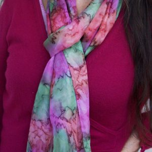 Hand painted silk scarf pinks