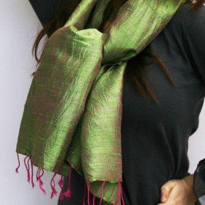 Shot Silk Scarf grass green