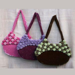 Pompom Velvet Bags
