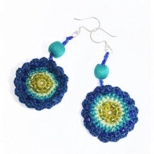 Crochet-Earrings-Blue