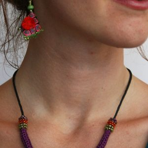 Hmong-3-D-Pendant-with-matching-earrings