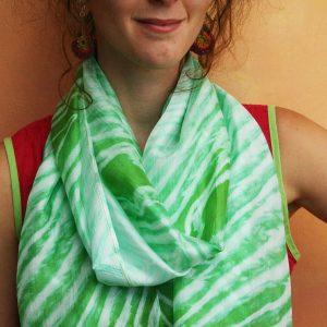 Tie-dyed-Silk-Scarf- Green