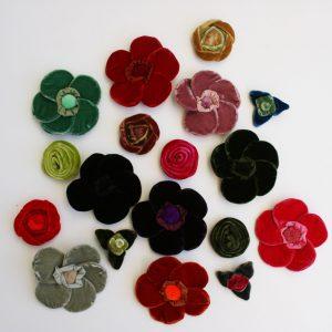 Assorted-Velvet-Flower-Brooches