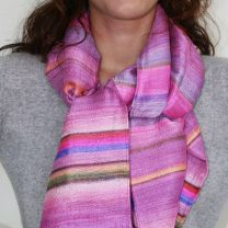 Hand-painted raw silk scarf