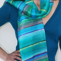 Raw silk hand painted scarf