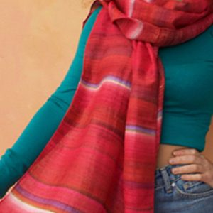 Wide hand painted silk scarf