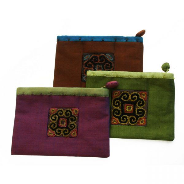 Hmong embroidered silk purse