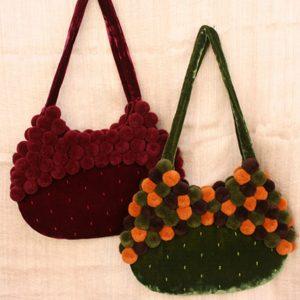 Velvet pompom bag