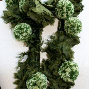 Green pompom scarf