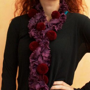 Burgundy pompom scarf