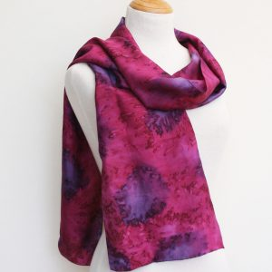 Hand-woven-water-effect-silk-scarf-in-cherry