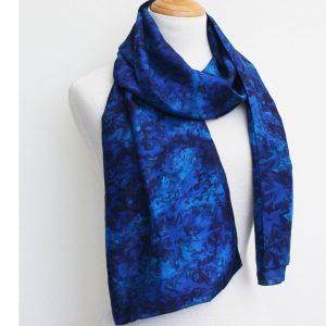 Hand-woven-water-effect-silk-scarf-midnight sky