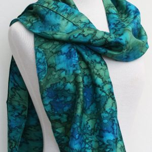 Sea green-hand-woven-silk-scarf
