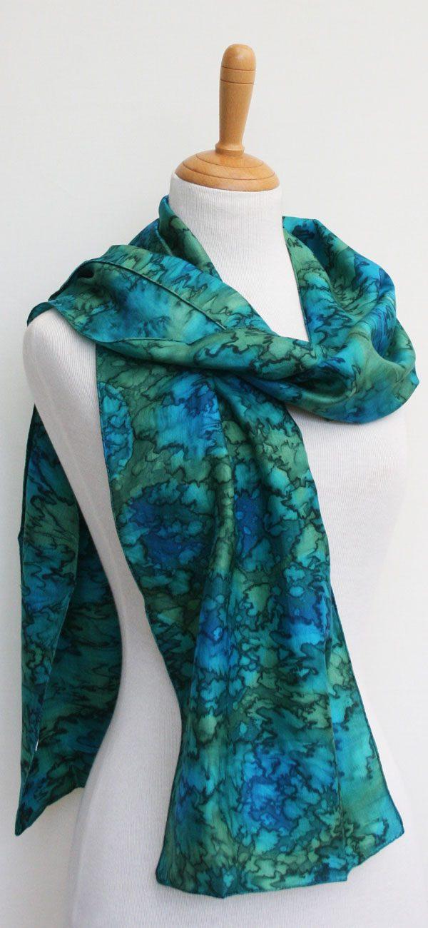 Sea green-hand-woven-silk-scarf