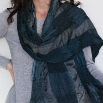 Silk scarf with smocking