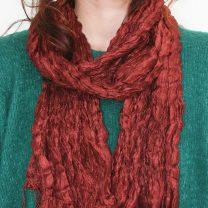 Raw crinkled silk scarf