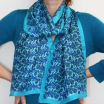 Hand woven silk scarf in turquoise