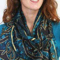 Celtic-silk-scarf-in-dark-blue
