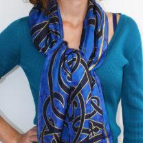 Celtic-silk-scarf-in-rich-blue