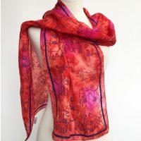 Dog-print-on-orange-silk-scarf-