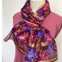 Golden-cats-printed-silk-scarf