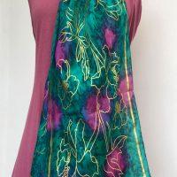gold-printed-silk-scarf-green