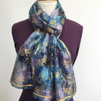 Silk-scarf-gold-printed-cats