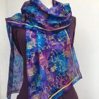 Blue-silk-scarf-with-cat-design