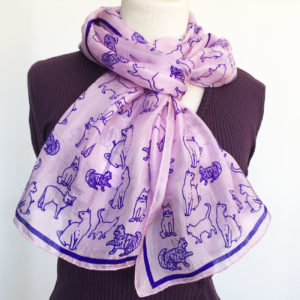 Pink-silk-scarf-with-cat-print