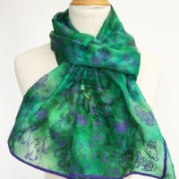 Green-silk-scarf-with-cats