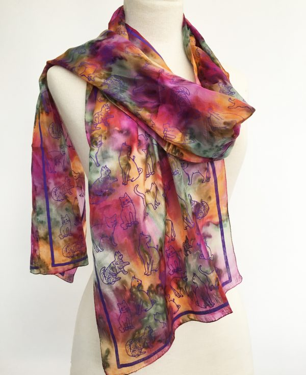 Silk-scarf-in-multi-colours-with cats
