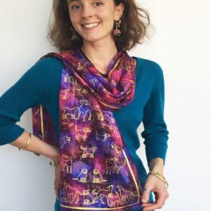 Autumn-coloured-silk-scarf-with-dog-print