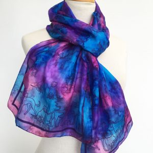 Dog-print-on-blue-silk-scarf