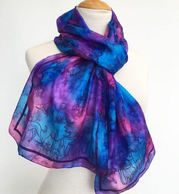 Dog-print-on-blue-silk-scarf