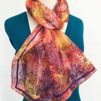 Dogs-on-golden-silk-scarf