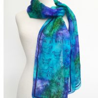 Turquoise-blue-silk-scarf-with-dogs
